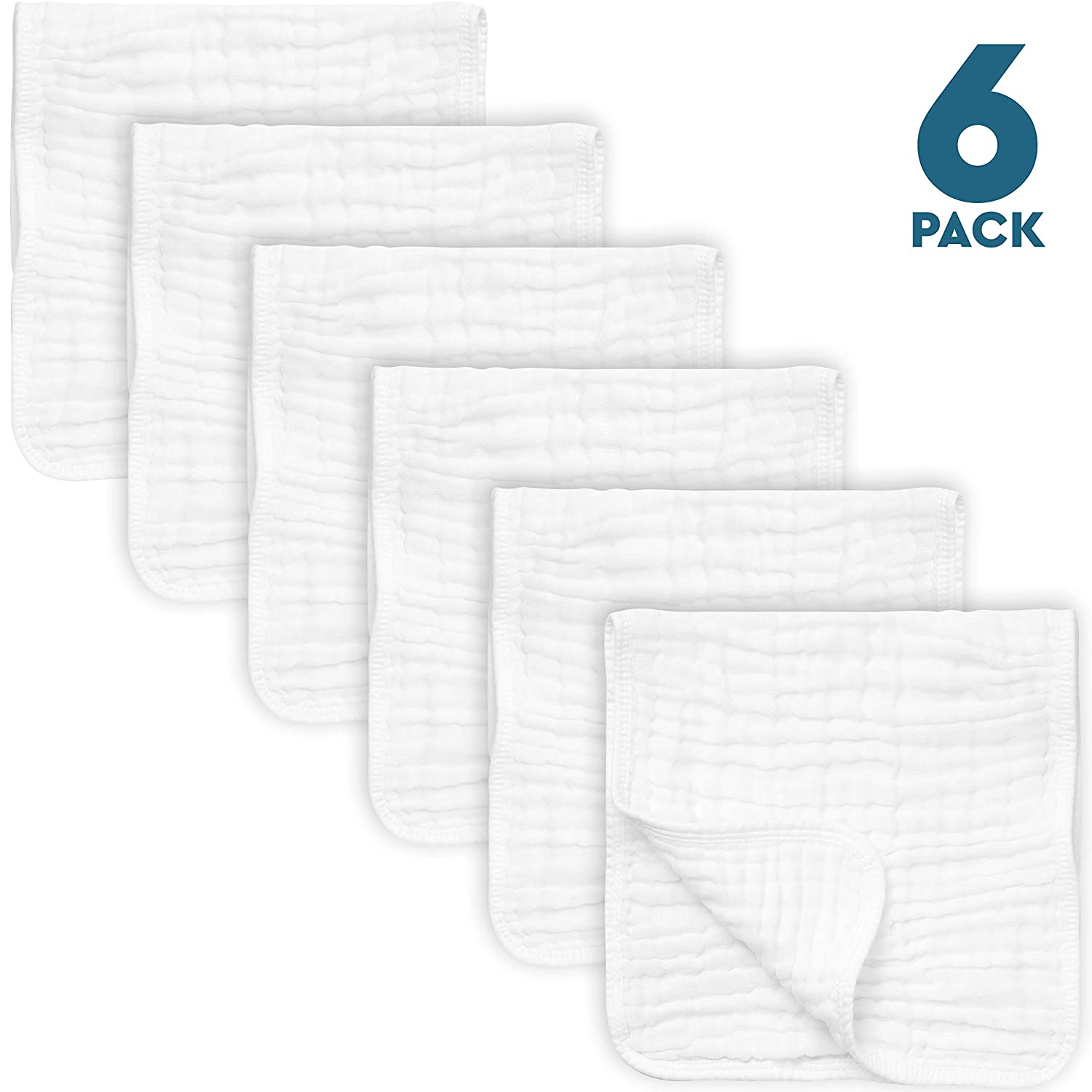 "6 Pack Muslin Burp Cloths Large 20"" by 10"" 100% Cotton, Hand Wash Cloth 6 Layers Extra Absorbent and Soft"