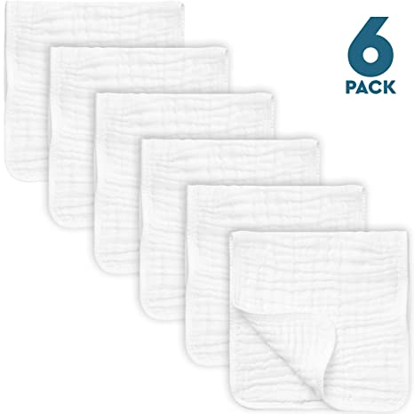 """PPOGOO Burp Cloths Extra Absorbent and Soft Large 21/""""x10/"""" 4 Pack 6 Layers 100/%"""