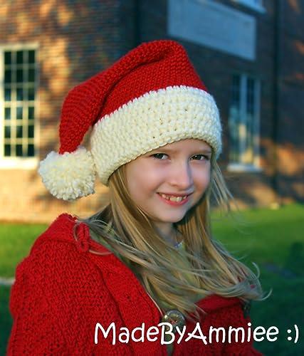 Amazon.com  Santa Hat with Pom Pom  Handmade 18dfb64e1e6