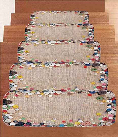 IPrint Non Slip Carpets Stair Treads,Vintage,Buttons Collection Fabric  Texture Canvas Frame
