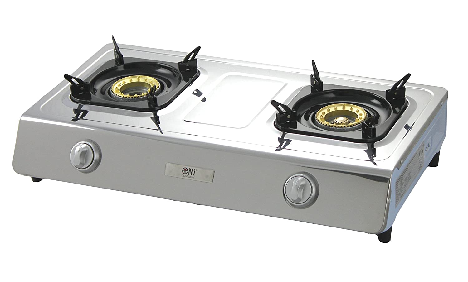 NJ NGB-200 Stainless steel 70cm Gas Stove 2 burners Camping Gas Cooker WOK burner LPG use NEW FONTRON LTD