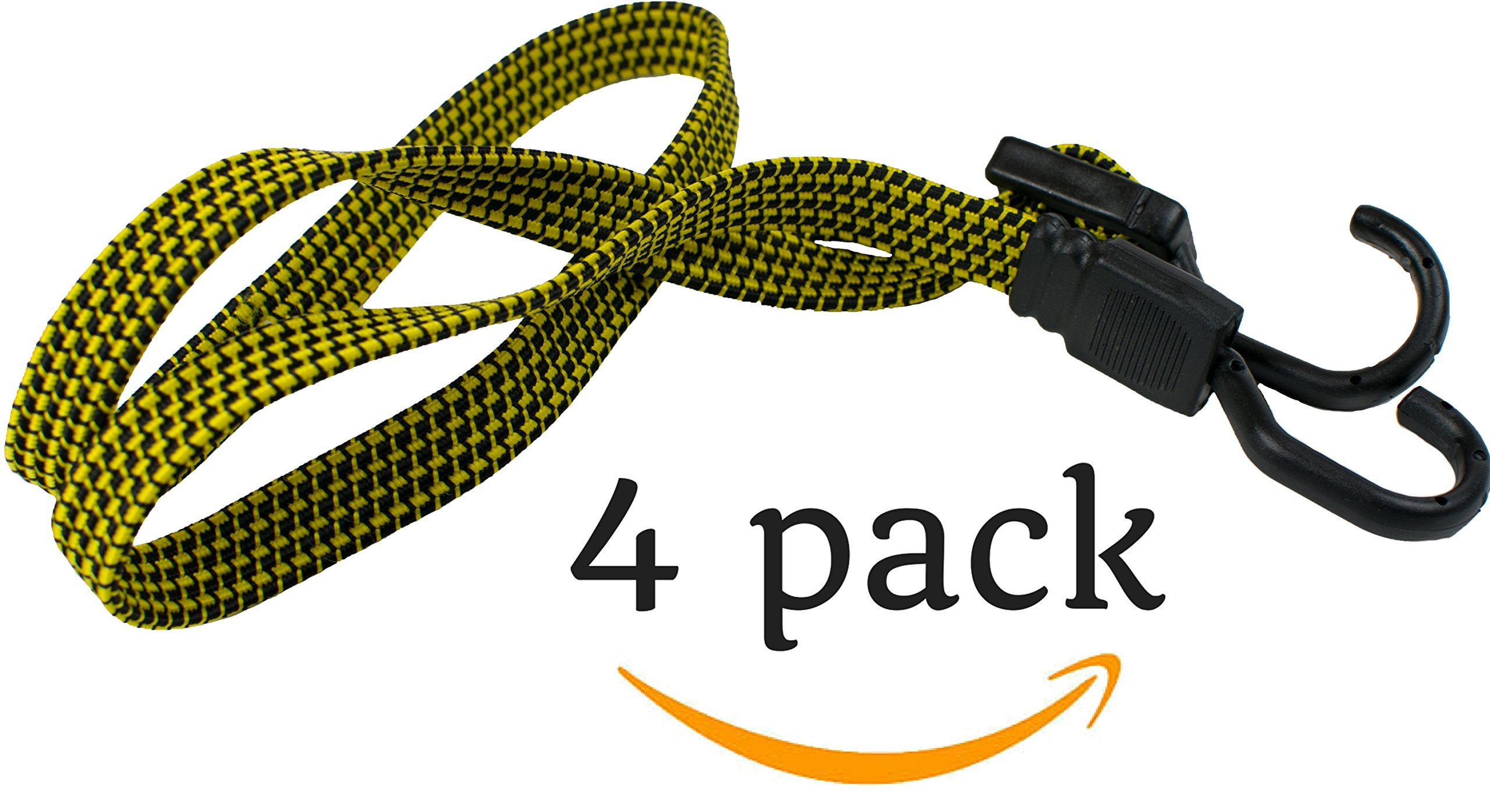 HeavyWeight Flat Bungee Cords 4 PACK with BONUS 4 Ball Bungees | 48'' INCH Total Length with Adjustable Length Hooks | Hand Carts, Dolly, Cargo, Moving, Camping, RV, Trunk, Luggage Rack, Tarp Tie Down