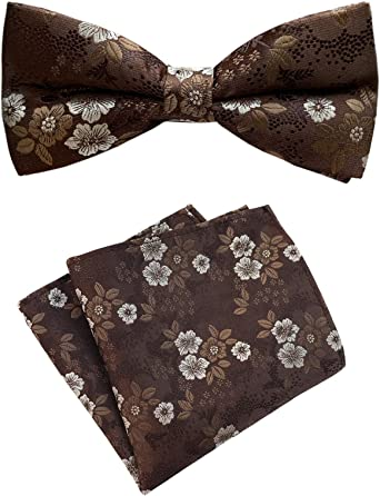 Cotton Mens Bowtie Cotton Navy Blue Red Gold Green Floral Bow Tie With Matching Pocket Square Option