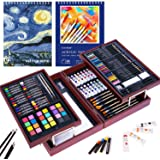 126 Piece Deluxe Art Set with 2 Drawing Pad, Art Set in Portable Wooden Case- Crayons, Oil Pastels, Colored Pencils…