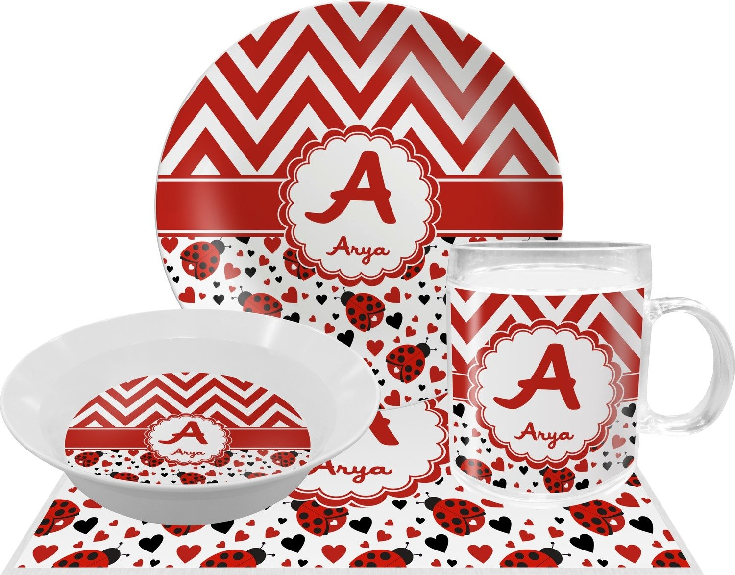 Ladybugs & Chevron Dinner Set - 4 Pc (Personalized) by RNK Shops