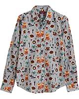 Dioufond Camisa de Mujer Manga Larga de Algodón Animal Patrón Botón Abajo Blusa Delgada con Cuello Vuelto y Puño Gemelos Top de Mujer - Trabajo/Verano