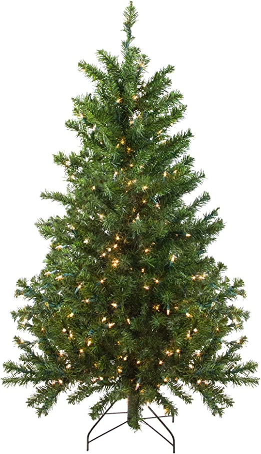 Amazon Com Northlight 4 Pre Lit Canadian Pine Medium Artificial Christmas Tree Clear Lights Home Kitchen