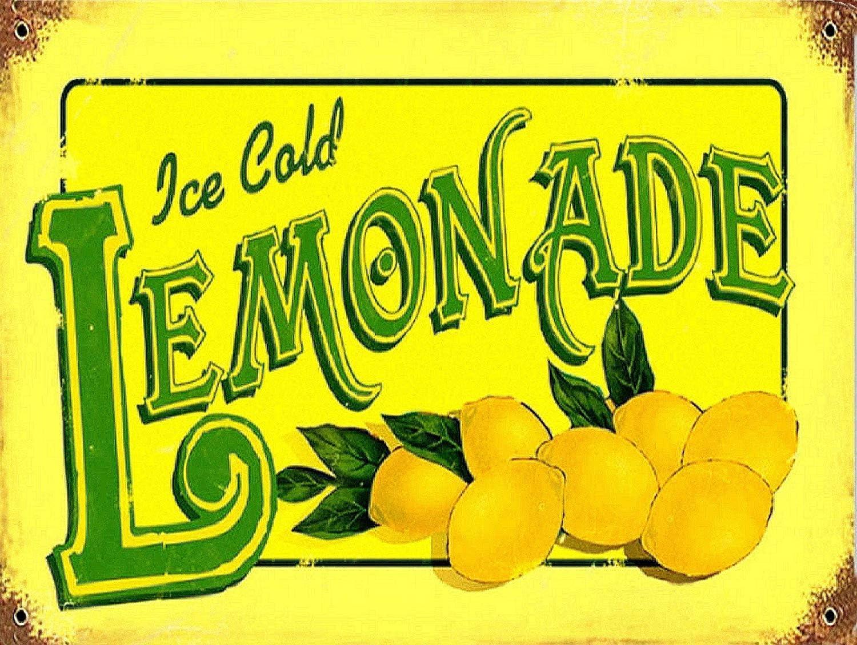 KELLEN WHITEHEAD Ice Cold Lemonade Advertising Wall Sign Retro Art Affiche de d/écoration dr/ôle de Panneau de Mur en m/étal Art