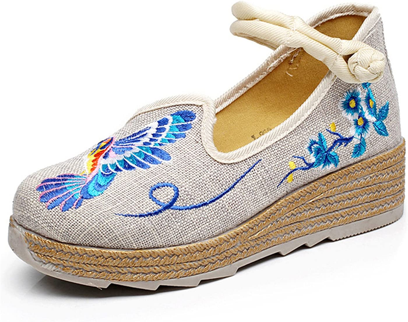 Qhome Womens Floral Embroidery Comfortable Linen Casual Walking Elevator Wedge Shoes