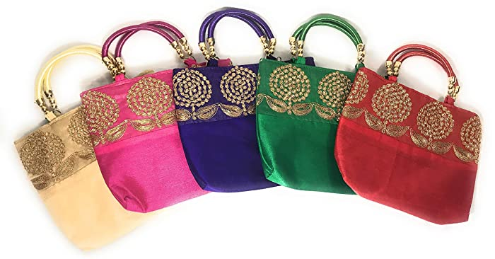 Amazon.com: Set of 5 handbags/Return Gift for Pooja, Housewarming/Assorted Colors: Handmade