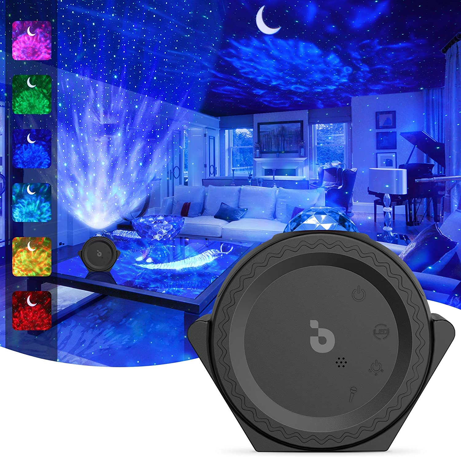Star Projector, 3-1 Ocean Wave Projector Night Light for Kids with LED Nebula Cloud&Moon, Voice Control, 13 Lighting Effects Galaxy Light Projector for Bedroom/Home Theater/Room Decor (Black)
