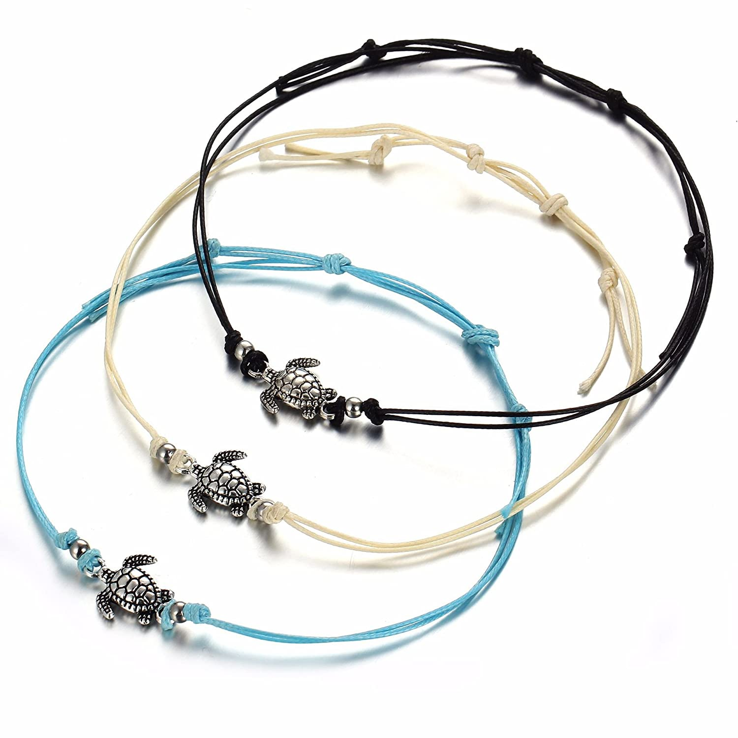 LAIMIO 3PCS Beach Anklets -Vintage Wax Rope Turtle Anklets Barefoot Tricolor Turtle Foot Chain B07DZB1NCW_US