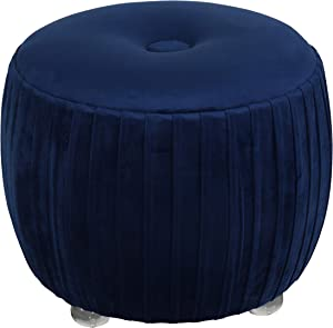 Cortesi Home Doles Round Ottoman with Clear Acrylic Legs 16, High, Navy Blue Velvet