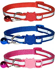 Reflective Cat Collars and Bell With Quick Release Safety Buckle, Suitable and Adjustable To Fit All Domestic Cats & Larger Kittens, Reflective Design Pet Collars, Pack of 3 (3pk - (Red/Blue/Rose))