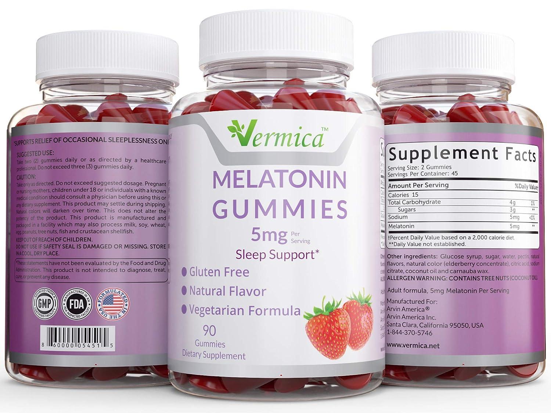 Amazon.com: Vermica Natural Melatonin Gummies, 5mg Each, Gluten Free Formula, Supports Better Sleep: Health & Personal Care