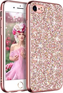 YINLAI iPhone SE 2020 Case, iPhone 8 Case iPhone 7 Case Glitter Sparkle Bling Girly Cover Thin Durable Hybrid Bumper Shockproof Anti-Slip Protective Phone Case for iPhone SE 2nd/7/8 Case, Rose Gold