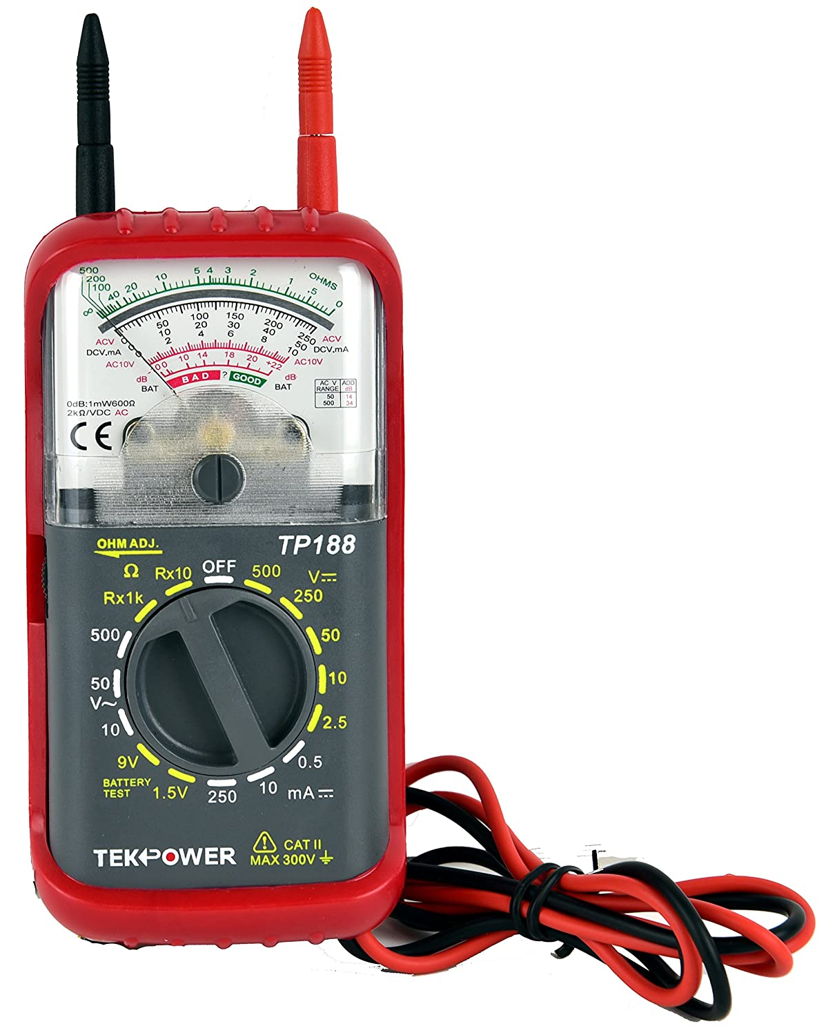 Tekpower Tp188 Pocket Size Analog Multimeter With Built Voltmeter Cr7 Green In Test Leads Home Improvement