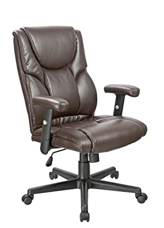 office factor executive office chair high back lumbar support ergonomic brown bonded leather with adjustable arms