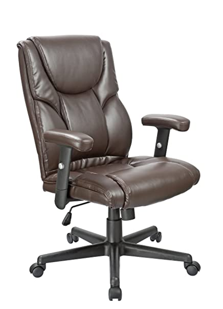 OFFICE FACTOR Leather Executive Office Chair, Ergonomic Chair Lumbar  Support, Swivel Chair, Brown