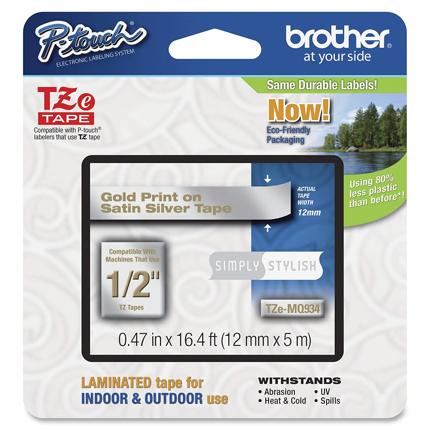 Brother Tape, Gold on Black, 24mm (TZe354) - Retail Packaging Brother Printer CW-BRTTZE354
