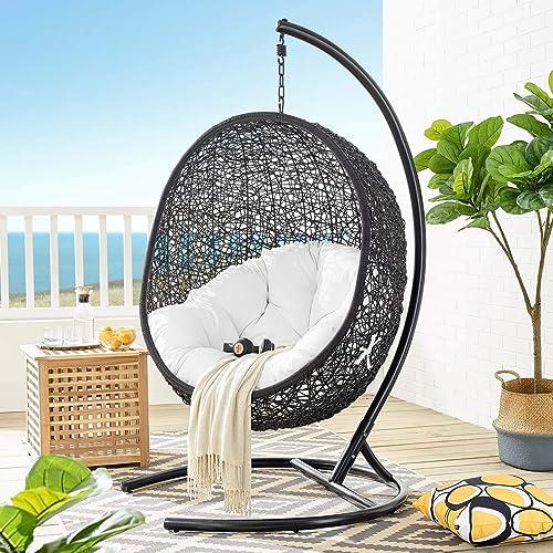 Modway Encase Wicker Rattan Outdoor Patio Porch Lounge Egg Swing Chair