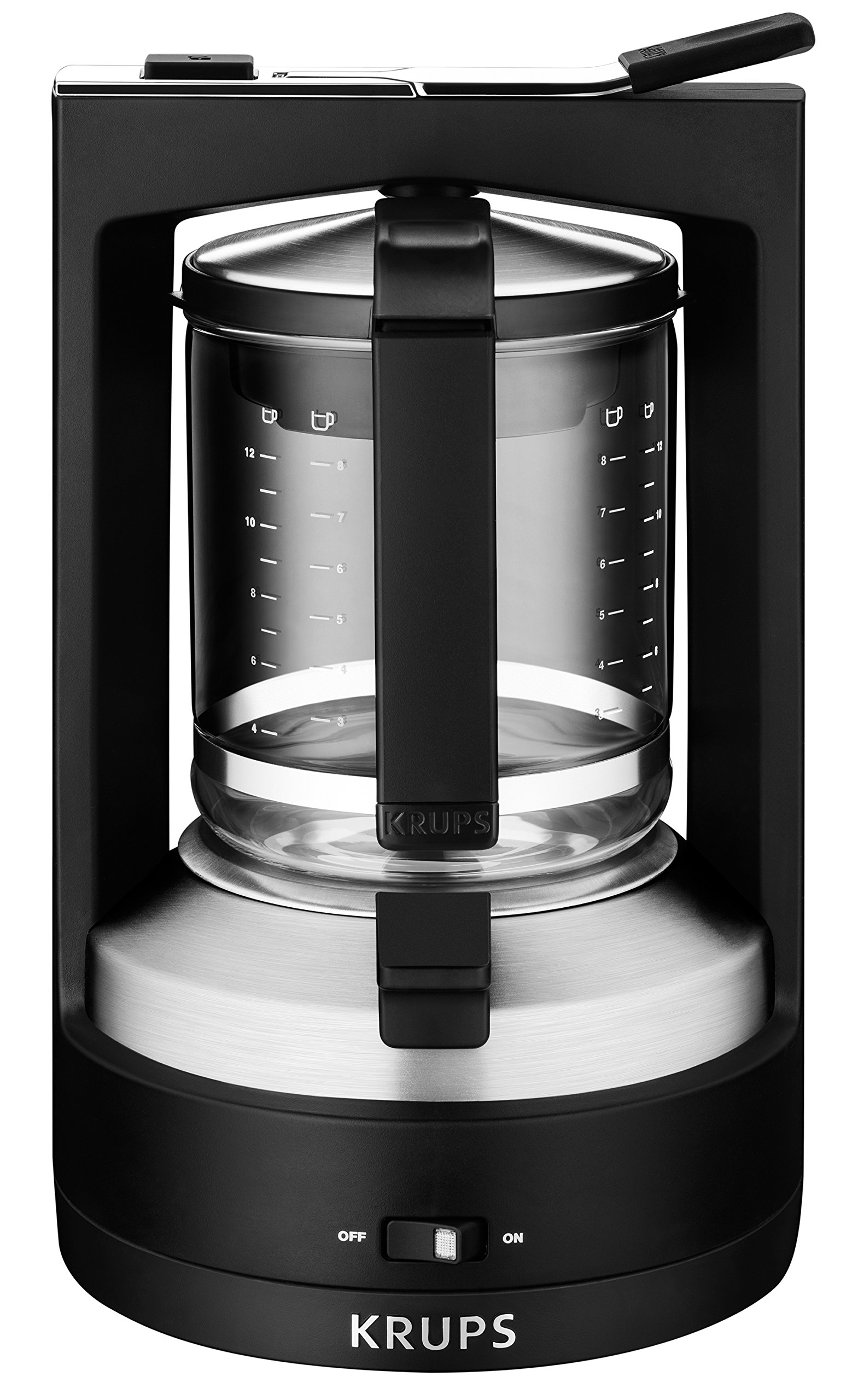 KRUPS KM4689 Moka Brewer Coffee Maker Machine with Permanent Filter and Glass Carafe, 10-Cup, Black by KRUPS