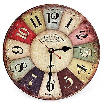 Reloj De Pared Vintage, Reloj De Pared Casa Madera Rústico De Decoración 30cm Silencioso Redondo Colorido Retro Casa para Sala De Estar Dormitorio: ...