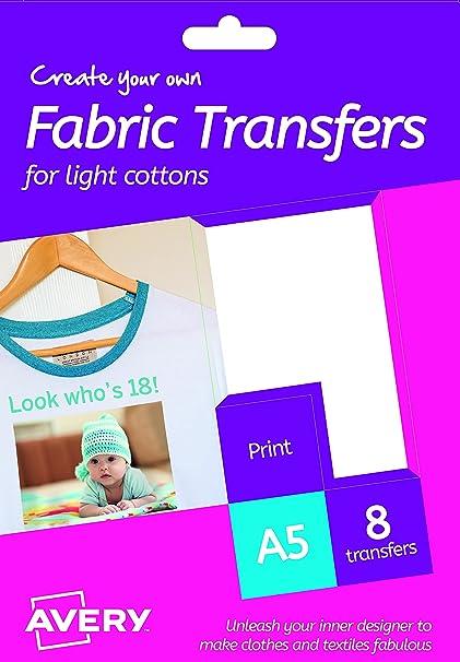 AVERY España HTT01 - Papel transfer para tejidos claros, 8 hojas, color blanco: Amazon.es: Oficina y papelería