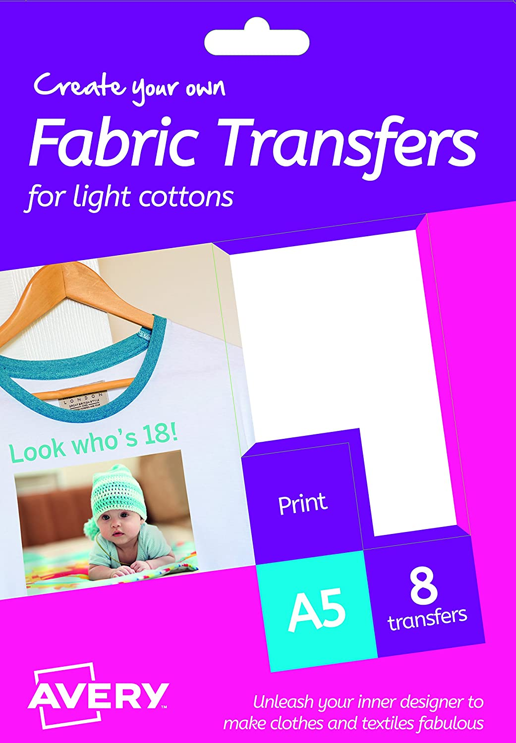 graphic relating to Printable Textiles referred to as Avery HTT01 Printable Cloth Transfers for Light-weight Cottons, 1 shift For every A5 Sheet