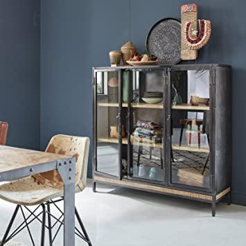 Made In Meubles Buffet Haut 3 Portes Vitrees Bois Et Metal