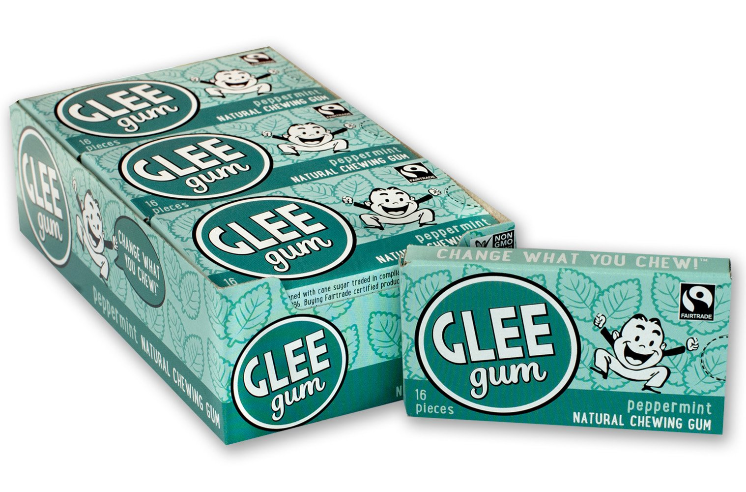 Glee Gum Peppermint, 16-Piece Boxes (Pack of 12)