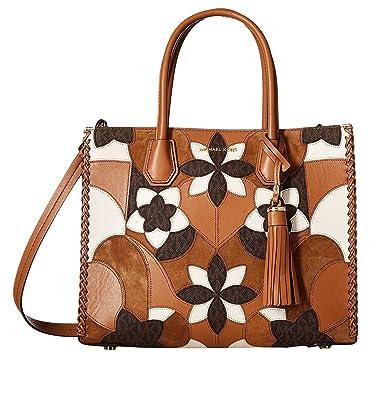 3fc95a26e8461 Amazon.com  MICHAEL Michael Kors Mercer Large Floral Patchwork Convertible  Leather Tote (Acorn)  Shoes