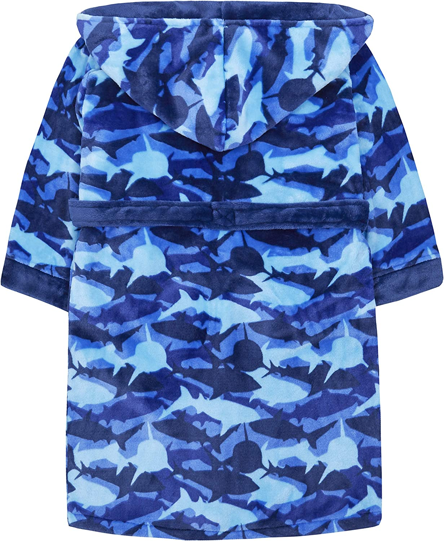 Haifischmuster MiniKidz /& 4Kidz Kinder-Bademantel Blau Fleece