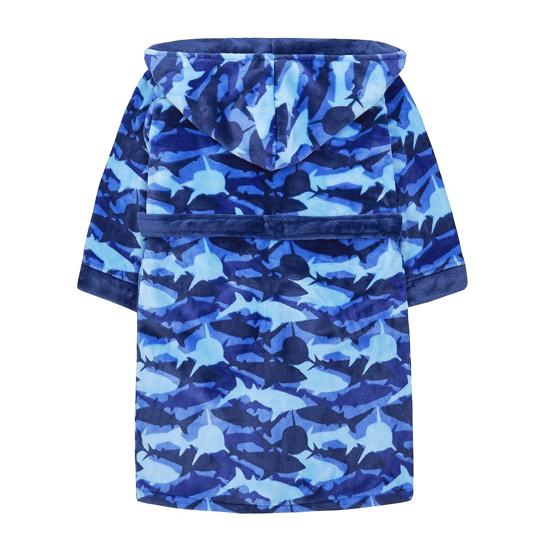Childrens//Boys Blue Shark Camo Fleece Dressing Gown
