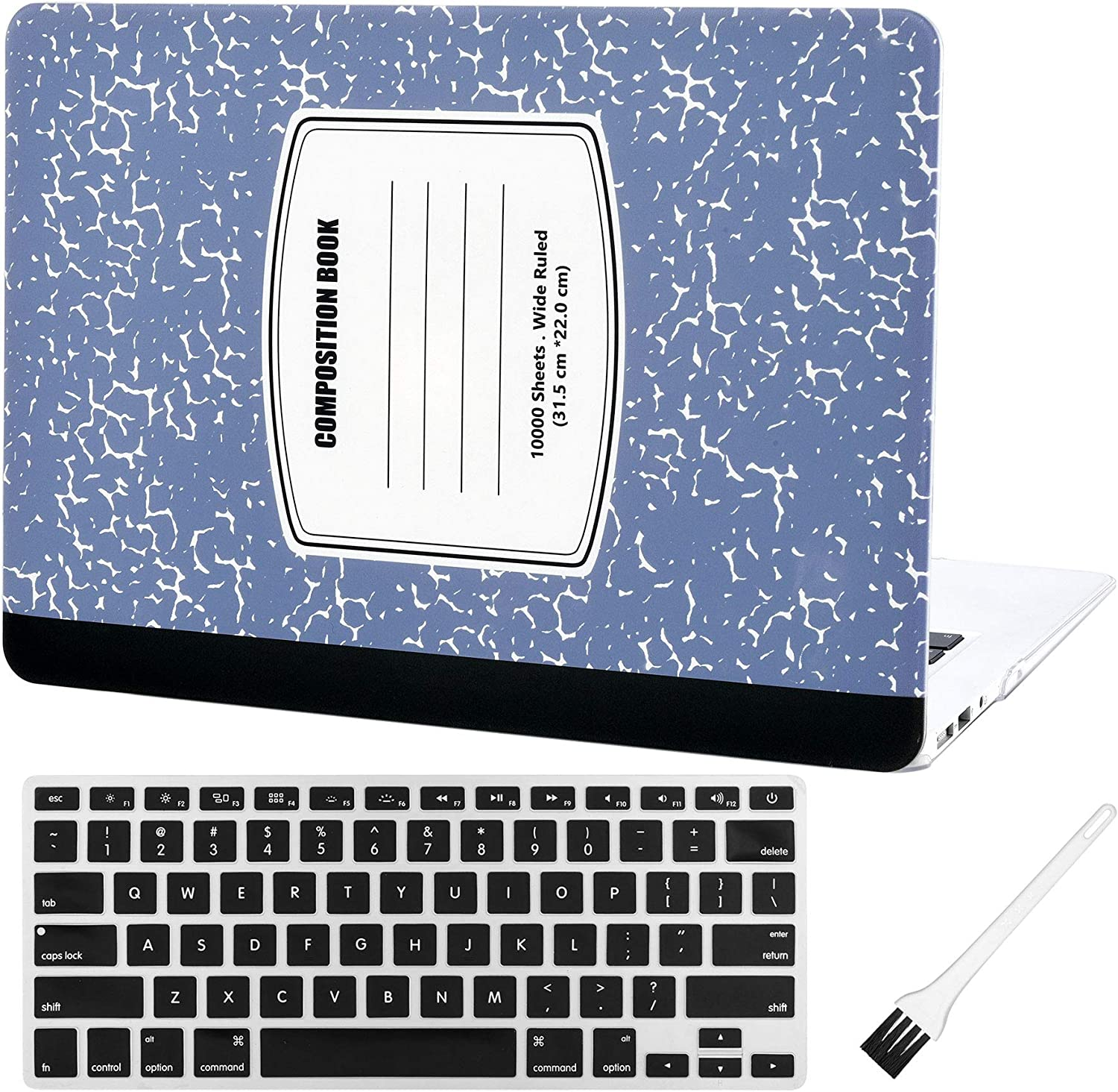 Laptop Plastic Hard Case MacBook air 13 inch Matte Rubberized Hard Shell Sleeve Cover (MacBook Air 13 Inch A1369 & A1466) with Silicon Keyboard Cover and Dust Brush(Notebook Pattern-Light Blue)