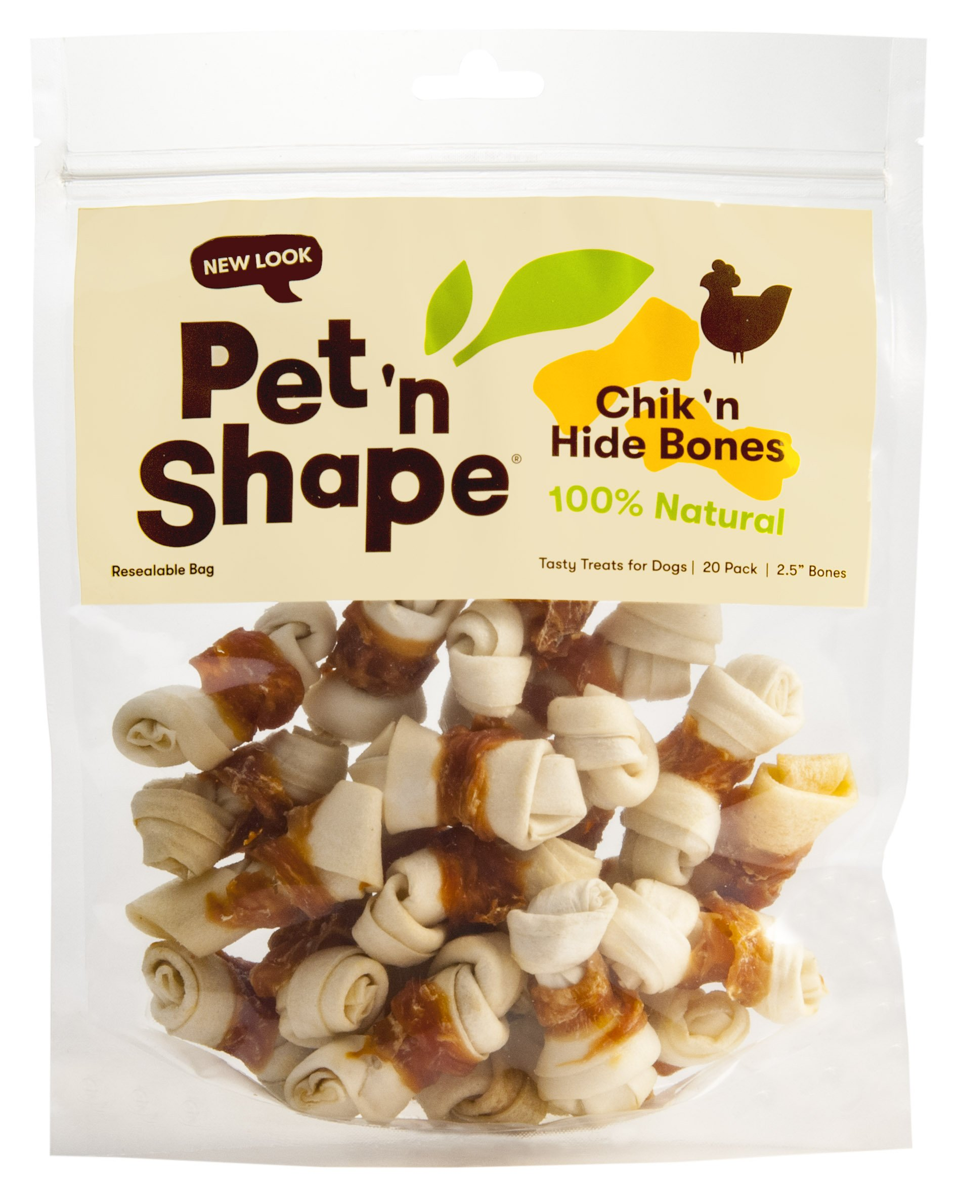 Pet 'n Shape 11502 Chicken Hide Natural Dog Bones, 20 Count