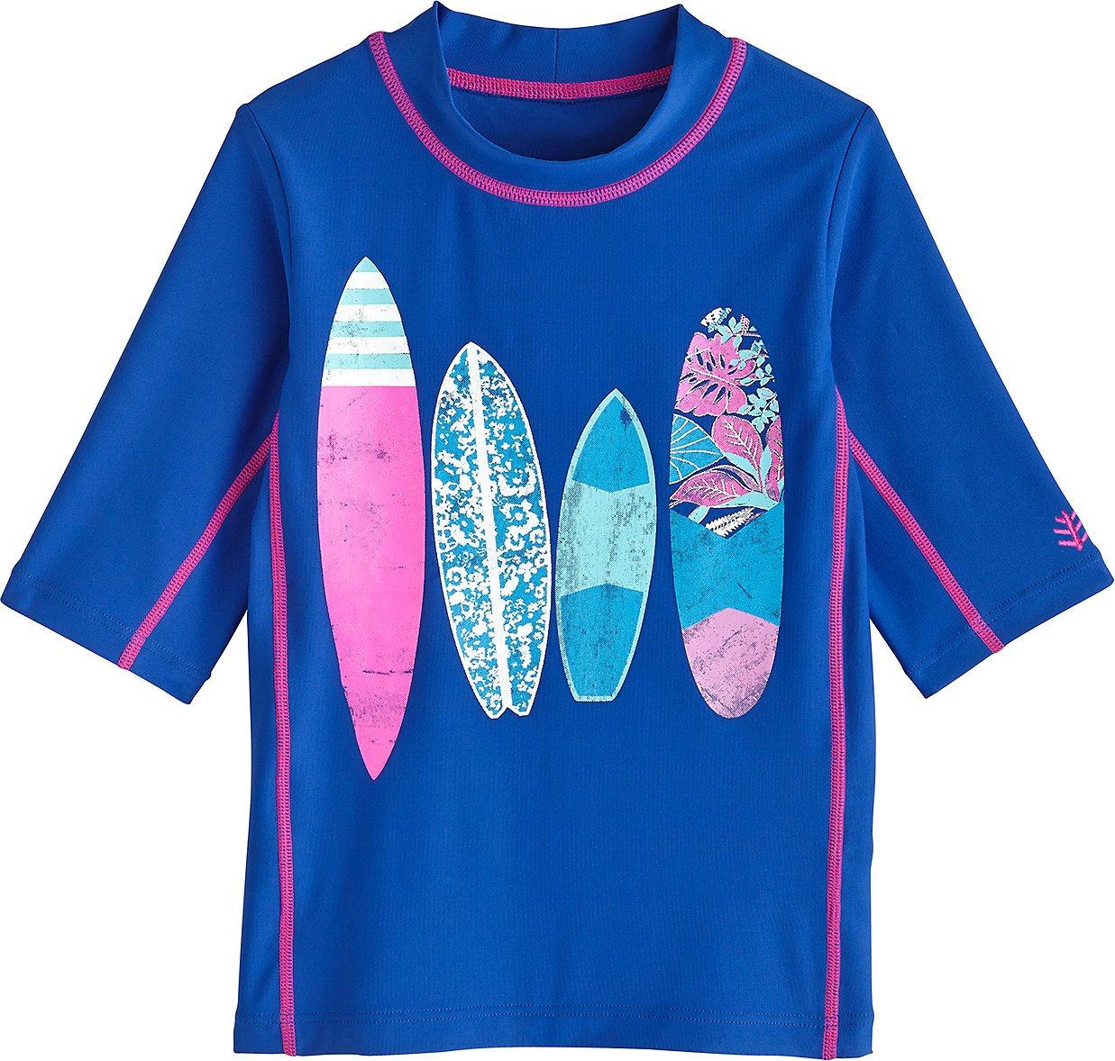 Coolibar UPF 50+ Kids' Surf Shirt - Sun Protective (Medium- Baja Surfboards)