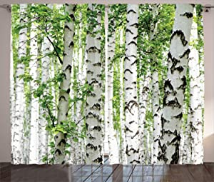 """Ambesonne Woodland Curtains, Birch Trees in The Forest Summertime Wildlife Nature Outdoors Themed Picture, Living Room Bedroom Window Drapes 2 Panel Set, 108"""" X 90"""", White Green"""