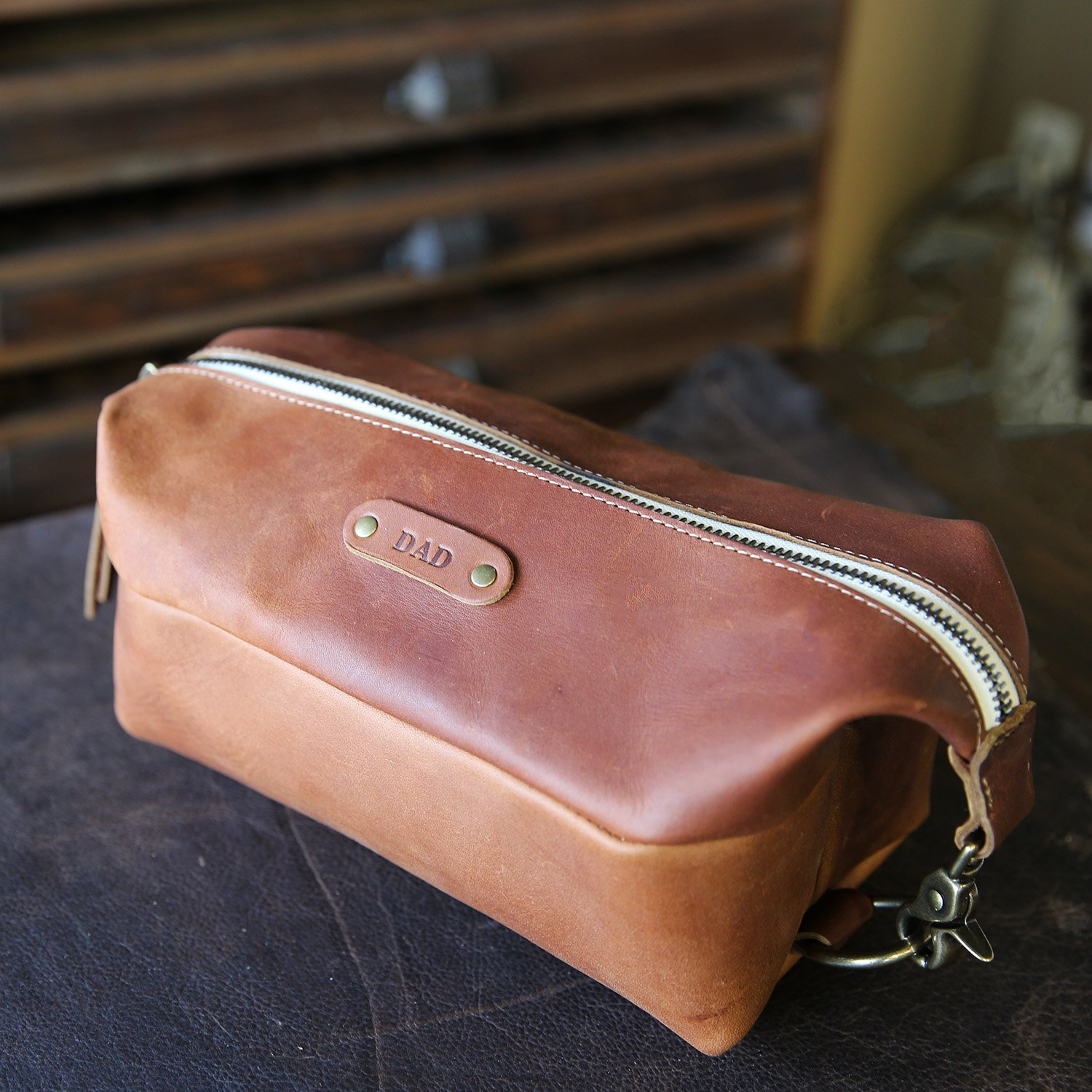 The Dopp Bag - Personalized Brown Fine Leather Shave Toiletry Bag Travel Bag With Zipper by Holtz Leather Co.