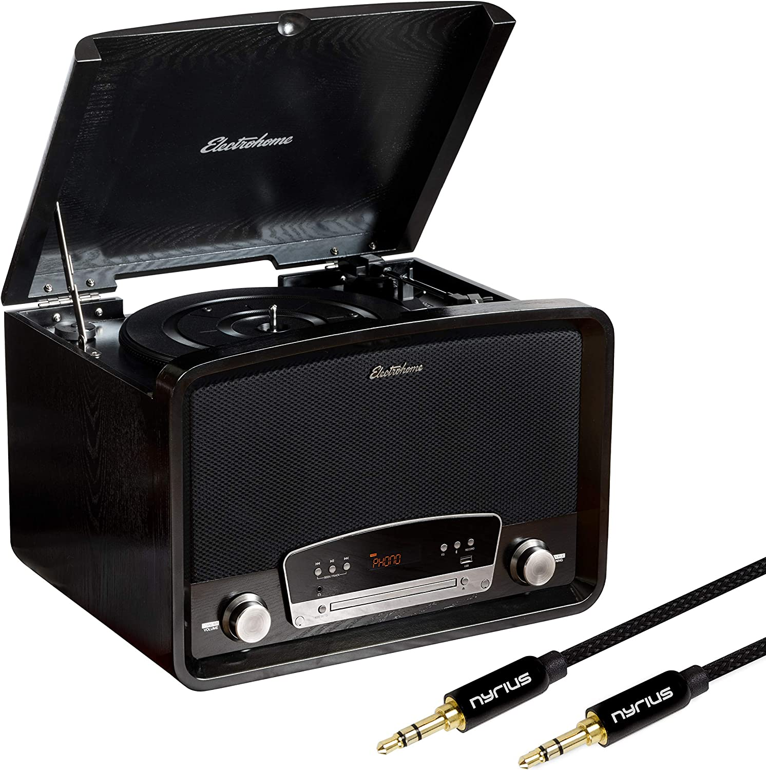 Electrohome Kingston 7-in-1 Vintage Vinyl Record Player Stereo System with 3-Speed Turntable, Bluetooth, AM/FM Radio, CD, Aux in, RCA/Headphone Out with Bonus 3.5mm Aux Cable (RR75B)