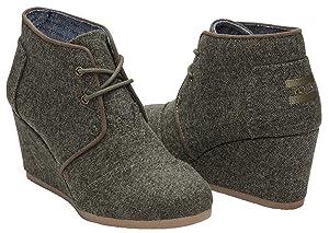 TOMS Women's Desert Wedge Olive Herringbone Boot 5 B (M)