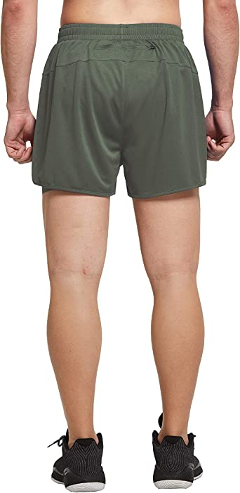 Ogeenier Mens Mesh 2 in 1 Running Shorts Quick Drying Gym Training Sports Shorts with Pockets