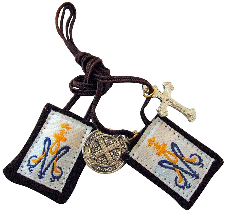 Kinder Braun Skapulier mit Blau und Gold Marian Emblem