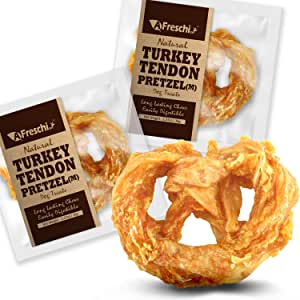 AFreschi Turkey Tendon for Dogs, Premium All-Natural, Hypoallergenic, Long-Lasting Dog Chew Treat, Easy to Digest, Alternative to Rawhide, Ingredient Sourced from USA, 2 Units/Pack Pretzel (Medium)