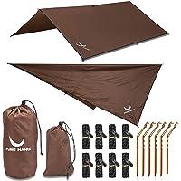 PURE HANG Premium tentzeil Tarp 3x3 voor hangmat outdoor camping 100% waterdicht met oogjes zonnezeil strand ultra licht…