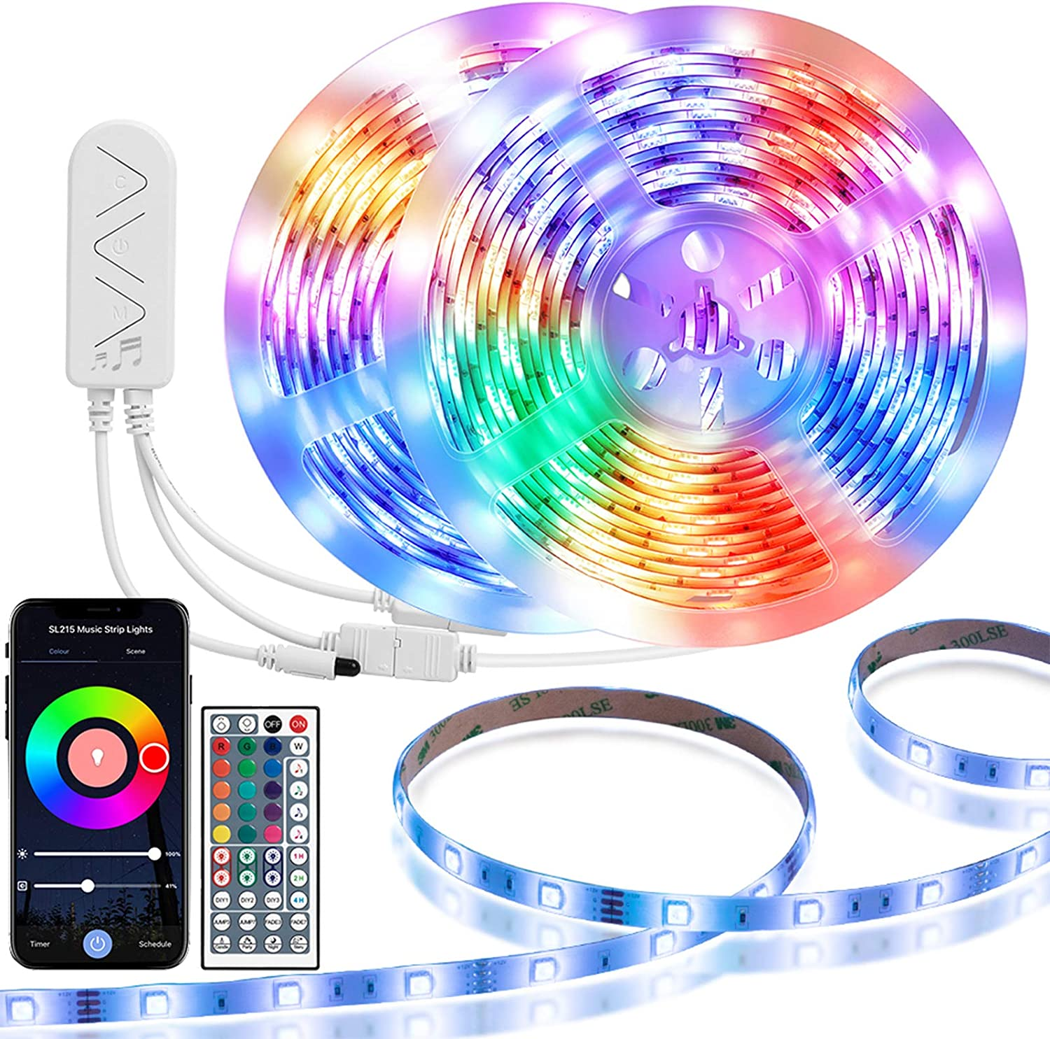 TaoTronics LED Strip Lights Work with Alexa,32.8ft RGB Smart WiFi Waterproof LED Rope Lights, Music Strip Lights with Timer and Remote Controller, DIY LED Lights for Home Party
