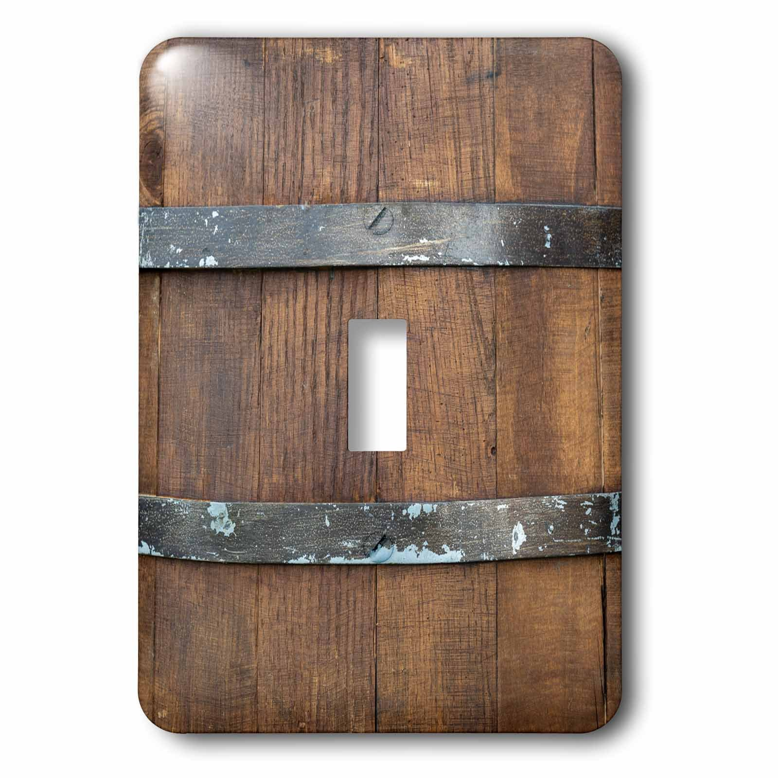 3dRose Alexis Photography - Texture Wood - Image of a wooden barrel, metal bands. Closeup view. Wooden texture - Light Switch Covers - single toggle switch (lsp_286653_1)