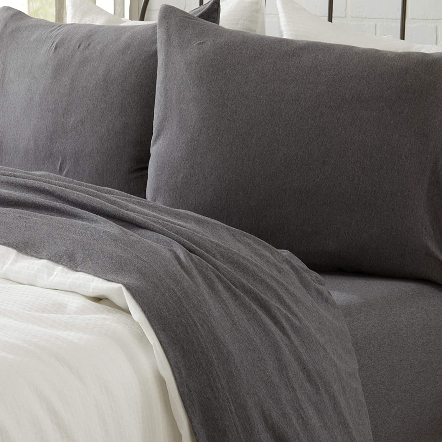 Great Bay Home Jersey Knit Sheets. All Season, Soft, Cozy Twin Jersey Sheets. T-Shirt Sheets. Jersey Cotton Sheets. Heather Cotton Jersey Bed Sheet Set. (Twin, Charcoal)