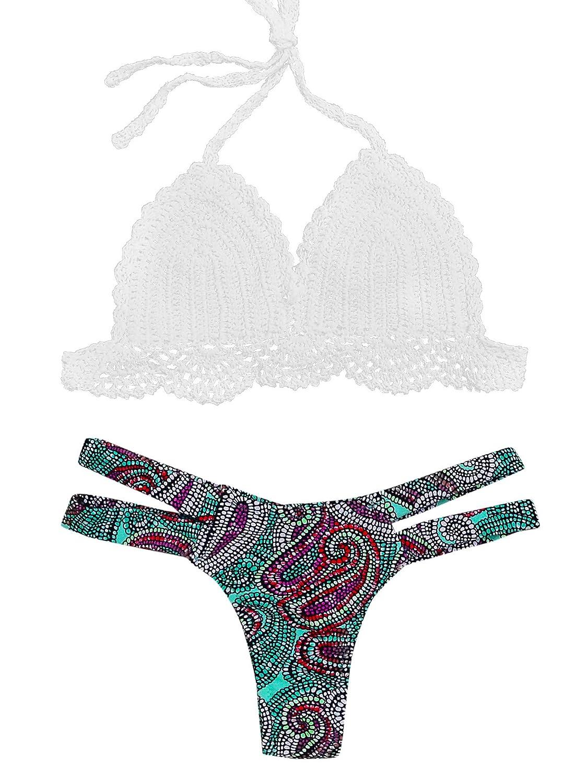 TALLA L. SOLYHUX Mujer Bikini De Croché Estampado Espalda Abierta de baño Bikini,+2 PCS Traje de Baño 2019 Verano Sexy