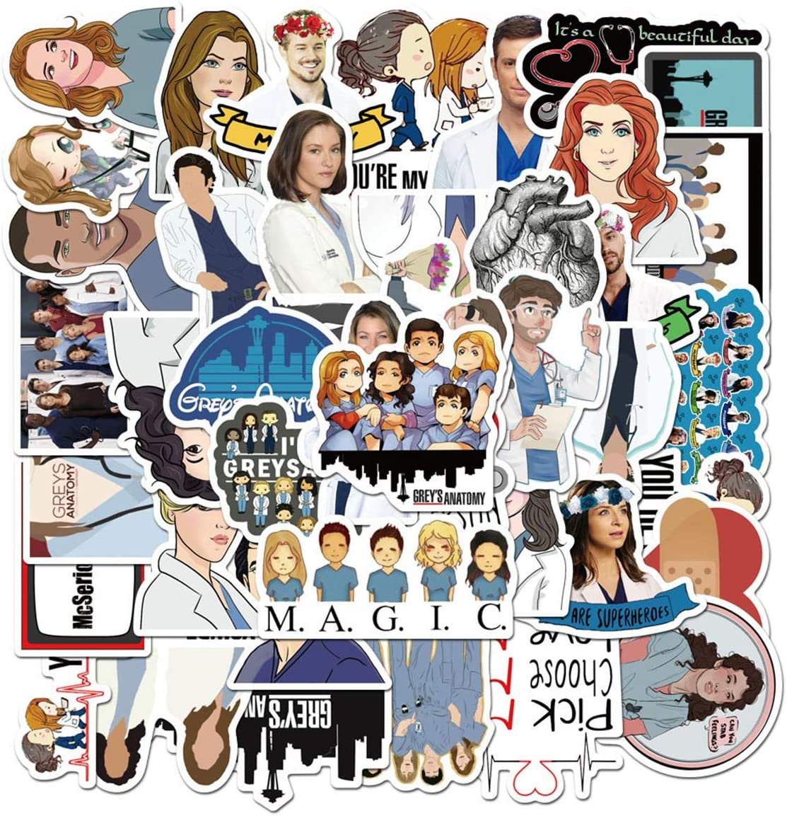 TV Grey's Anatomy Stickers for Water Bottles 50pcs Waterproof,Aesthetic,Trendy Stickers for Teens,Girls Perfect for Waterbottle,Laptop,Phone,Travel Extra Durable Vinyl (50pcs Grey's Anatomy Stickers)